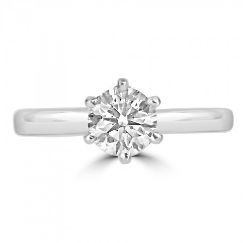 18ct WG RBC 0.50ct 6 Claw Single Stone Ring