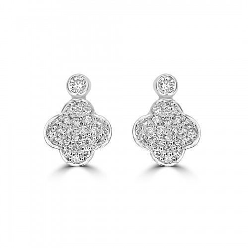 18ct WG RBC Pave Clover Small Drop Earrings