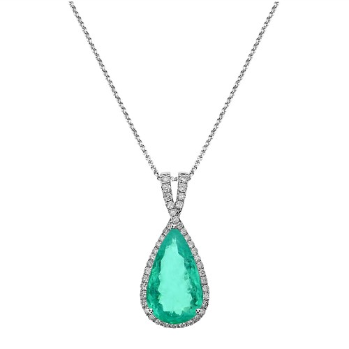 18W 1x Paraiba Tourmaline Pear Shape 5.13ct with RBC 0.46ct Fine Pave Surround with Crossover Bail Pendant