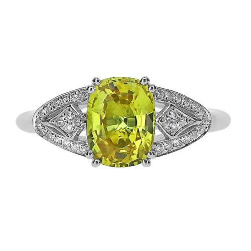 18ct WG Yellow Sapphire Oval with RBC Fancy Vintage Style Surr Ring