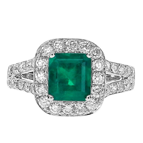 18ct WG Emerald Octagon with RBC Surround & Split Shoulders Ring