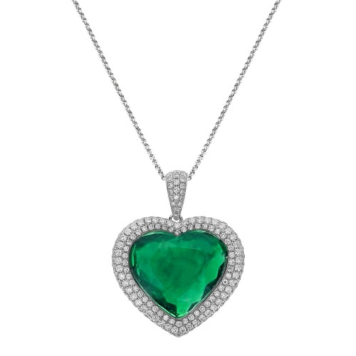 18ct WG Emerald Heart Shape with RBC Pave Surround Pendant