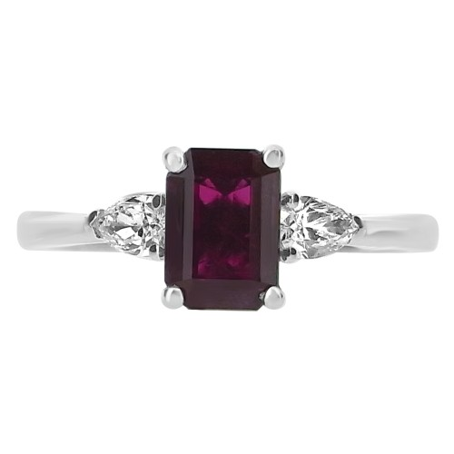 18ct WG Ruby Octagon 1.15ct with Pear Shapes 3 Stone Ring