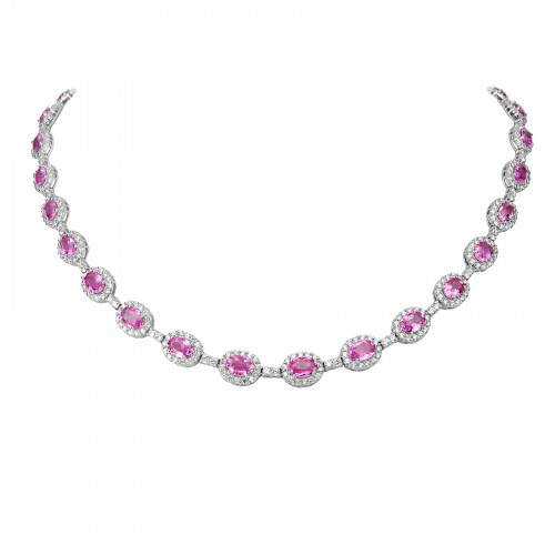 18W PSAP Oval 17.59ct w/ RBC 6.22ct  Halo Full Line Necklace