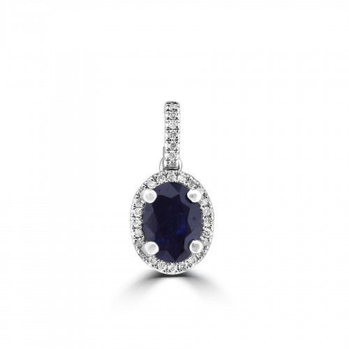18ct WG Sapphire Oval with RBC Fine Surround & Bail Pendant