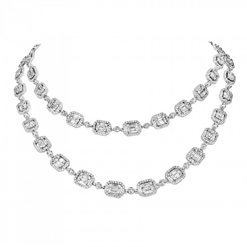 18W 265x Baguette Dia 7.40ct w/ 1431x RBC Dia 10.03ct Octavia Halo w/ Round Rubover Spacers Full Set Necklace