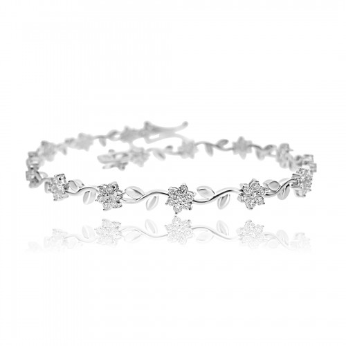 18ct WG Brilliant Diamond Flower Cluster Line Bracelet