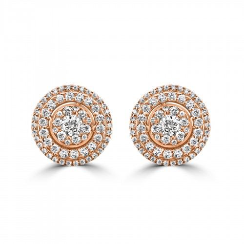 18R RBC 1.12ct 3 Halo Round Stud Earrings