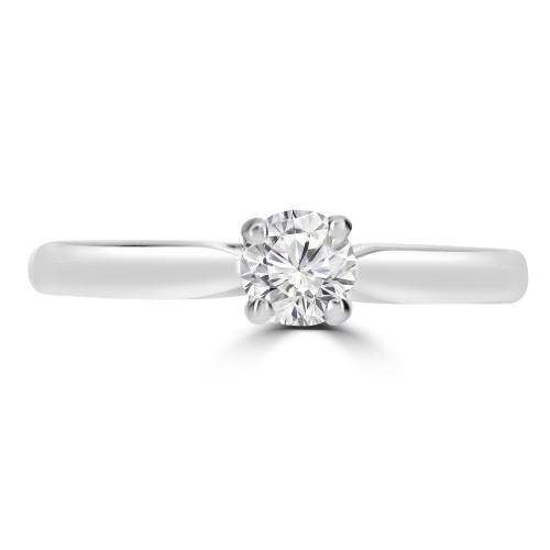 18ct YG 1x RBC Dia 0.30ct GIA G/VS2 4 Claw V Setting Single Stone Ring