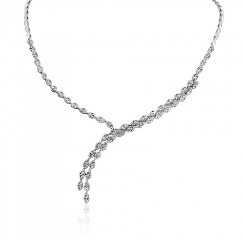 18ct WG RBC Diamond Y 6 Claw Double stone setting Half Set Necklet