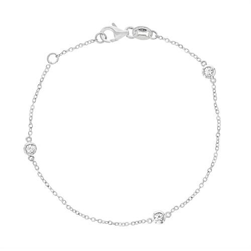 18W 3x RBC 0.20ct 3 Stone Spec Bracelet