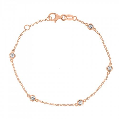 18R 5x RBC 0.30ct Spec 5 Stone Bracelet