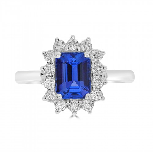 18ct WG Tanzanite Octagon with RBC Cluster Ring