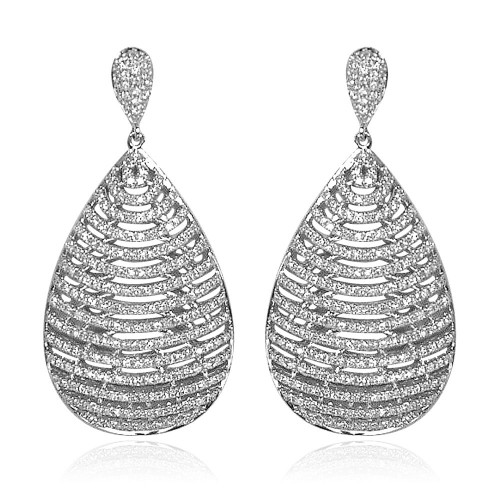 18ct WG Large Pear Shape with RBC Pave Set Drop Earrings