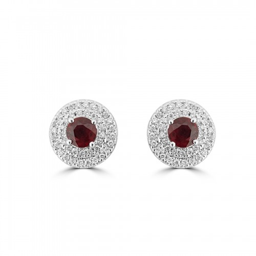 18W 2x Ruby RBC 0.94ct w/ 80x RBC Diamond 0.35ct Double Halo Stud Earrings