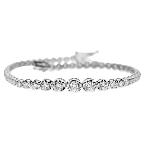 18W 42x RBC Diamond 5.59ct Crown Graduated Line Bracelet