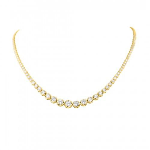 18R 73x RBC 4.35ct Crown Grad Line Necklace