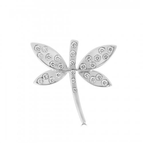 18W 28x RBC Diamond 0.26ct Set Flush Dragonfly Pendant