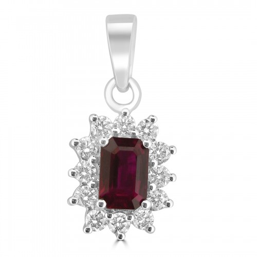 18W 1x Ruby Oct 0.77ct with 12x Dia RBC 0.28ct Cluster Pendant
