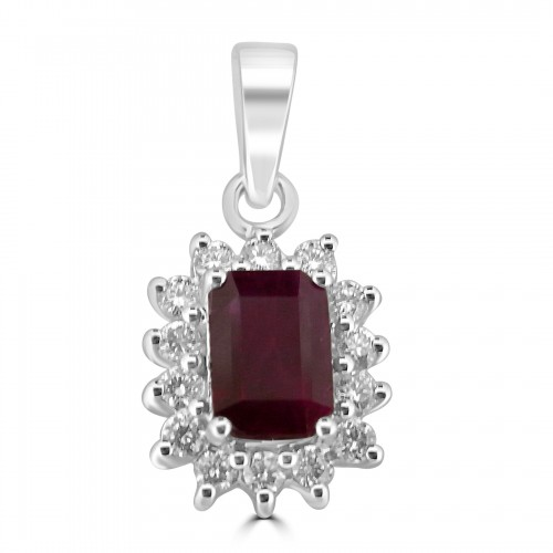 18W 1x Ruby Oct 1.16ct with 12x Dia RBC 0.47ct Cluster Pendant