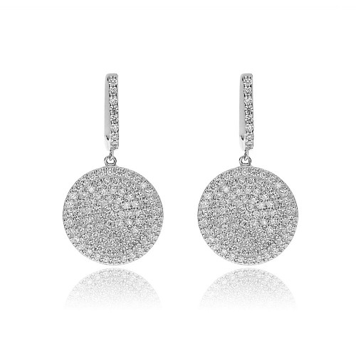18ct WG RBC Pave Set Disc Drop Earrings