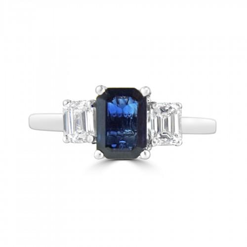 18w 1x Bsap Oct 0.89ct W/ 2x Oct 0.37ct 3 Stone Ring