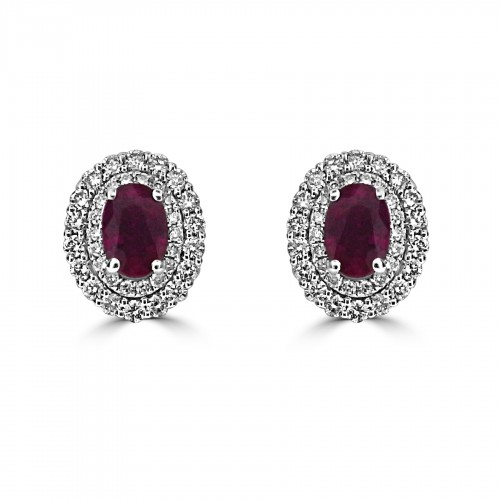 18W 2x RUBY OVAL 0.92ct w/ 72x RBC 0.59ct Double Halo Stud Gemino Earrings
