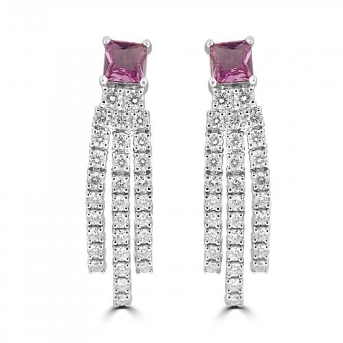 18W 2x Pink Sapp Princess 1.24ct w/ 62x RBC Dia 2.03ct  3 Line Drop Earrings