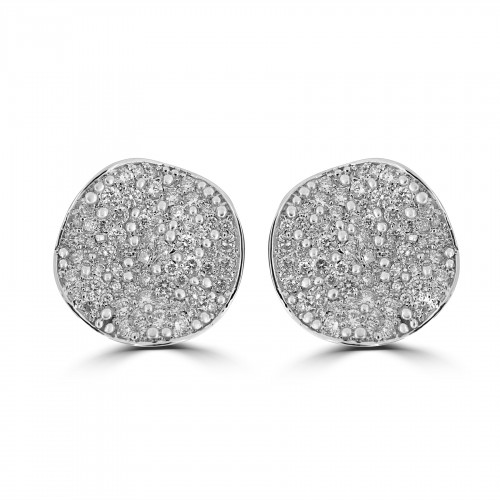 18W 128x RBC 2.31ct Round Pave Bubble Earrings
