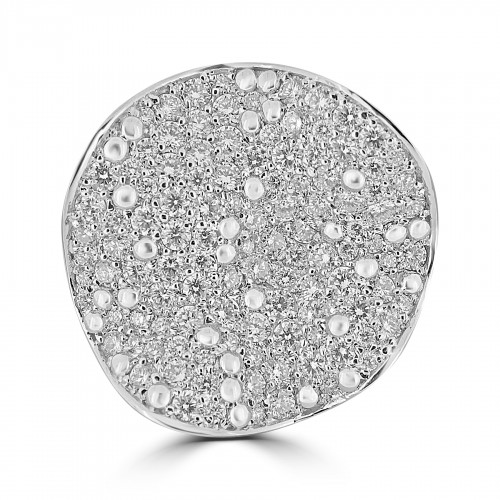 18W 111x RBC 2.11ct Round Pave Bubble Ring