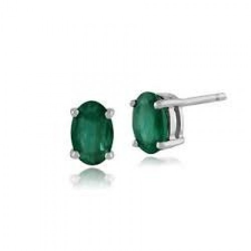 18W 2x EMLD OVAL 0.32ct 4 Claw Gallery Stud Earring