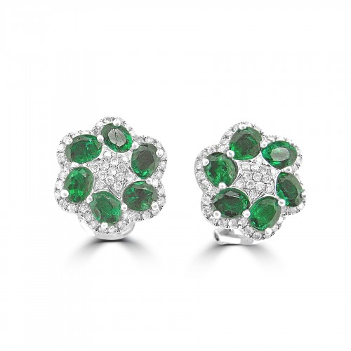 18W 12x Emld Ovals 2.97ct w/ RBC 0.54ct Flower Cluster Omega Clip Earrings