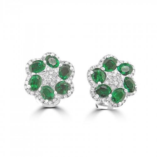 18ct WG Emerald & RBC Flower Cluster Omega Clip Earrings