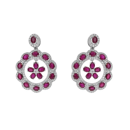 18ct WG Ruby Ovals & RBC with Suspended Flower Drop Earrings