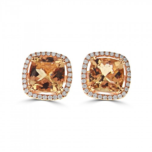 18R 2x Morganite Cushion 6.98ct w/ 60x RBC Diamond 0.58ct Single Stone w/ Halo Stud Earrings