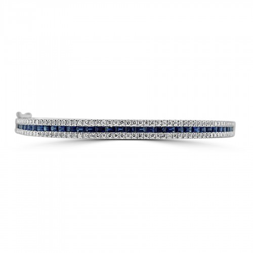 18W BSAP BAG 1.08ct w/ RBC 0.67ct Fancy Eternity Style Bangle