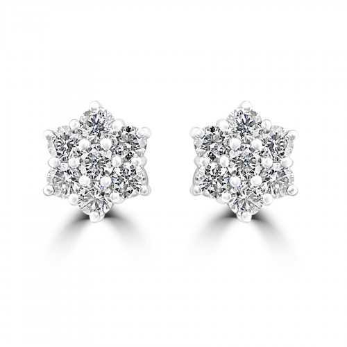 18W 14x RBC 2.05ct Daisy Cluster Earrings
