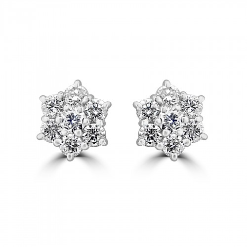18W 14x RBC 1.57ct Daisy Cluster Earrings