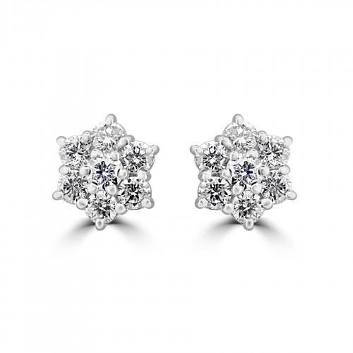 18W 14x RBC 1.57ct Daisy Cluster Earrings