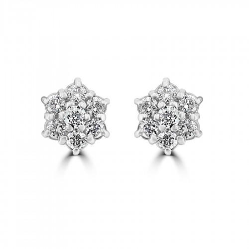 18W 14x RBC 0.62ct Daisy Cluster Earrings