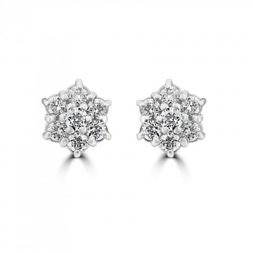 18W 14x RBC 0.62ct Daisy Cluster Earrings