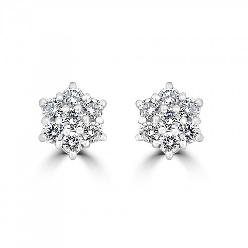 18W 14x RBC 0.52ct Daisy Cluster Earrings