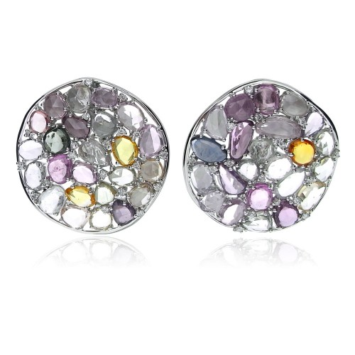 18W Coloured Sapphire Rosecut & RBC Disc Earrings