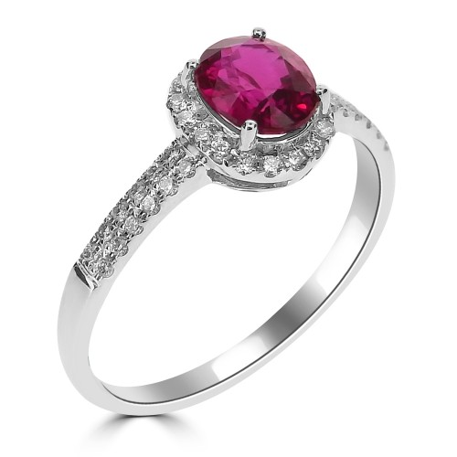 18ct WG Ruby Oval with RBC Surround & Shoulders Ring
