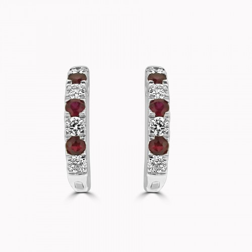 18W 6x RUBY RBC 0.26ct w/ 8 x RBC 0.28ct Hoop Earrings