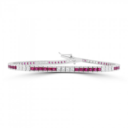 18W RUBY PRIN 3.22ct w/ PRIN 1.66ct Channel Line Bracelet