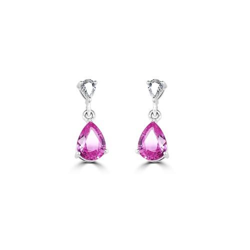18W 2x Pink Sapp Pear 2.52ct w/ 2x Pear Dia 0.30ct 3 Claw Drop Earrings