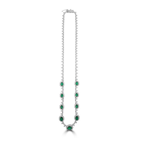 18W Emld Oval 4.90ct w/ RBC 6.05ct Trifoil & Cluster Half Set Necklace