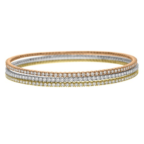 18R RBC 1.77ct (Side Setting Detail) Narrow Round Slave Bangle