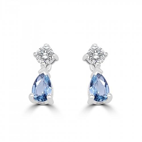 18W 2x Aqua Pear 0.34ct w/ 2x RBC Dia 0.22ct Drop Earrings